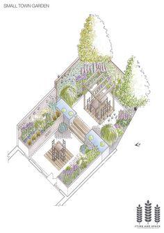 Small town garden axonometric drawing