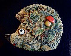 Купить Керамическое панно Ёжик - Керамика, анималистика, животные, фигурки животных, панно, настенное панно