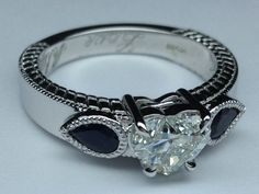 Heart Diamond Vintage with Modern Style Twist Heirloom Engagement Ring with Pear Shaped Blue Sapphires