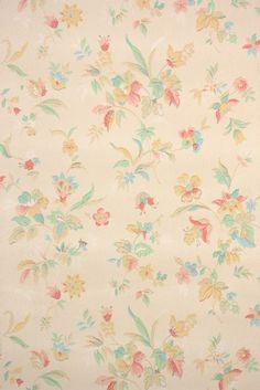 This roll of wallpaper is an authentic, old stock roll from the It is a full double roll, which will cover approximately 50 sq. Antique Wallpaper, Art Deco Wallpaper, Home Wallpaper, Yellow Flower Wallpaper, Wall Light Shades, Wall Paper Phone, Vintage Christmas Ornaments, Floral Prints, Floral Patterns