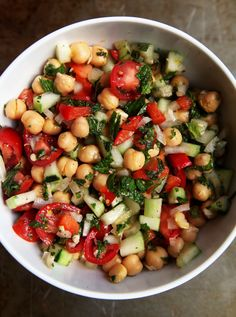 Lemon-Mint-Garbanzo-Bean-Salad--This works nicely as a side dish for family dinners. It's even better the next day!