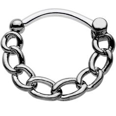 16 Gauge Chain Link Black IP over Stainless Steel Septum Clicker