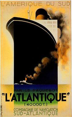 L'Atlantique Ocean Liner Travel  Poster