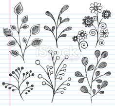 Gräser zeichnen / Hand-Drawn Sketchy Notebook Doodles Leaves Royalty Free Stock Vector Art Illustration