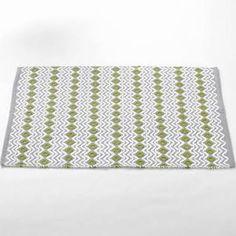 "Wave Bath Mat Coyuchi Size: 24"" H x 36"" W, Color: Grey with White-Green Tea  $60"