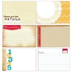 4x6 journalling tags for Project Life