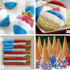Easy red white and blue desserts - all made with icing or melted white chocolate!