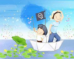Tête de lit panoramique / Papier peint textile sans raccord « Papa, moi et le bateau pirate » 260(L) X210(H) cm, spéciale chambre d'enfant Atelier WYBO http://www.amazon.fr/dp/B00NA7POGK/ref=cm_sw_r_pi_dp_-biiub1BSBB88