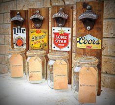 Groomsmen Gift, Rustic, Beer ,Bottle Opener, Pallet, Mason Jar decor -Husband Gift - Gift for Dad- Groomsmens Gift- Personalized by TeddysRoom on Etsy https://www.etsy.com/listing/190131986/groomsmen-gift-rustic-beer-bottle-opener