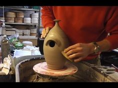 Making a Pottery Ceramic Bird House / Nest Box on the Wheel : Prototype attempt : 1