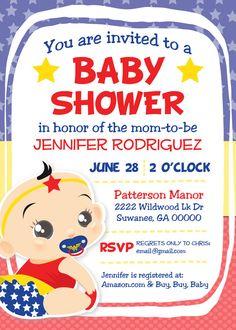 Custom Wonder Woman Superhero Baby Shower by LiebchenandCo on Etsy