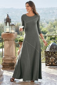 This maxi of soft ribbed knit is cut with diagonal seaming and multi-directional stripes for a casual, confident look. Misses long. Clothing For Tall Women, Clothes For Women, Modest Clothing, Women's Clothing, Petite Long Dresses, Modest Outfits, Casual Dresses, Striped Maxi Dresses, Diy Dress