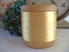 LRG ANTIQUE VINTAGE FRENCH SPOOL YELLOW SILK EMBROIDERY SEWING THREAD DOLL TRIM