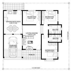 Hasinta - Bungalow House Plan with Three Bedrooms - Pinoy House Plans My House Plans, Modern House Plans, Small House Plans, House Floor Plans, The Plan, How To Plan, Modern Bungalow House Design, Small House Design, Three Bedroom House Plan