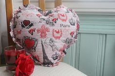 Valentine's Day Ruffled Heart-Shaped Paris Pillow