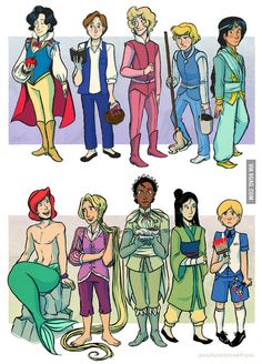 Disney princesses turnned into princes