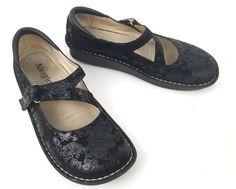 Alegria Dayna Sz 9 40 Women's Mules Black Paisley Clog Shoes Mary Janes Velcro | eBay