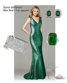 """Sequin green dress outfit 2018"" by rochii-elegante-de-lux on Polyvore featuring Tory Burch, Casadei, blue and evening dress"