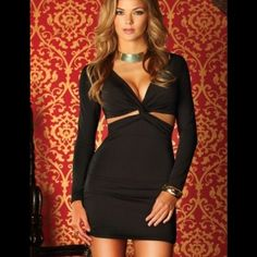 Black Long Sleeve Cutout Dress #883836-S Black long sleeve, side contours, mini dress. 90% Polyester 10% Spandex. Dresses