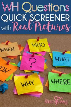 Quick WH Question screener with REAL PICTURES! Don't miss this helpful resources in your classroom! #teacher #SLP #speech #therapy #assessment #visuals #artic #articulation #language #development #printable