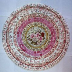 SHABBY MOSAIC TILE SET ~ TABLE TOP RED WHITE PINK ROSE GOLD VINTAGE CHINA 14""