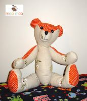 Fabric teddy bear, with moving arms and legs
