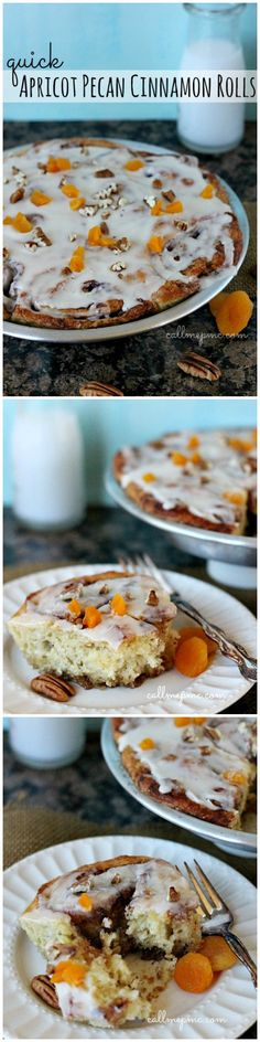 A quick-rise yeast dough makes these Quick Apricot Pecan Cinnamon Rolls a mouth-watering breakfast treat. Dried apricots and crunchy pecans take traditional cinnamon rolls up a notch Breakfast Pastries, Best Breakfast, Breakfast Recipes, Dessert Recipes, Breakfast Ideas, Brunch Ideas, Pecan Cinnamon Rolls, Dessert Bread, Sweet Recipes