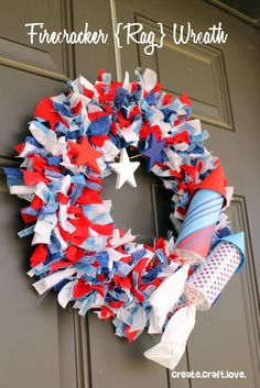 Firecracker Rag Wreath, via Create. Craft. Love