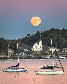 Super Moon over Our Lady of Peace Church in Boothbay Harbor, ME