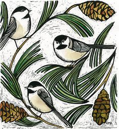 "I'm a Complete and Utter ***sucker*** for these Little Guys!! ""Chickadee and White Pine"" by Claudia McGehee"