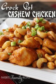 Cashew chicken Ingredients • 1kg chicken breast fillets cut into pieces  • 1/4 cup plainflour  • 1/2 tsp black pepper  • 1 Tbsp canola oil  • 1/4 cup soy sauce  • 2 Tbsp rice vinegar  • 2 Tbsp ketchup  • 1 Tbsp brown sugar  • 1 garlic clove, minced  • 1/2 tsp grated fresh ginger  • 1/4 tsp red pepper flakes  • 1/2 cup cashews Instructions • Combine soy sauce, vinegar, ketchup, sugar, garlic, ginger, and pepper flakes in small bowl; pour over chicken.  • LOW for 3 to 4 hours. Add cashews…