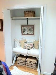 great idea for smal guest room closet