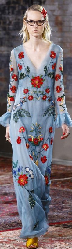 It's pretty except for her face!!! DELORTAEAGENCY Fabulous Gown of The Day | GUCCI Resort 2016 http://delortae.agency/is2n #couture #GUCCI #luxury