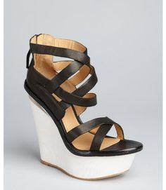 Black Leather Midori Wedge Sandals - Lyst