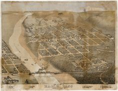 1887 Bird's Eye View Map of Eagle Pass, TX
