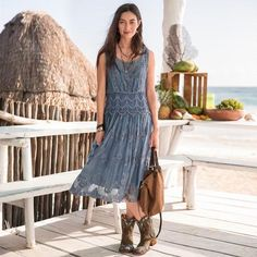 LASTING LOVE DRESS - You'll never fall out of love with this dress of embroidered mesh with lace insets. Scoop neck, fitted wide waistband and shirred skirt.
