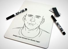 Nicolas Cage Hairstyle Whiteboard The Ultimate White Elephant Gift Guide: 60 Extremely Unusual Gifts via Brit + Co.