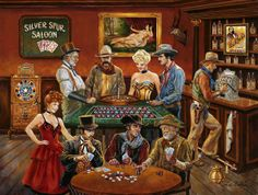 The Gamblers by Lee Dubin ~ nostalgic Old West art