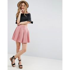 ASOS Mini Skater Skirt with Box Pleats ($22) ❤ liked on Polyvore featuring skirts, mini skirts, pink, flared skirts, high waisted circle skirt, jersey mini skirt, pink mini skirt and circle skirts