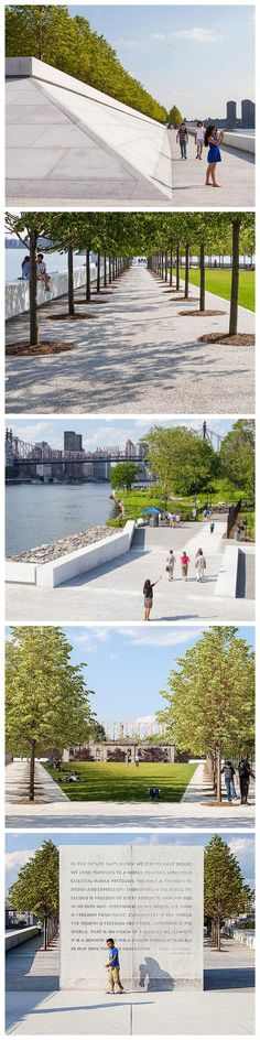 Franklin D. Roosevelt Four Freedoms Park, New York City, designed by Louis I Kahn and others. Click image for link to full profile and visit the slowottawa.ca boards >> https://www.pinterest.com/slowottawa/