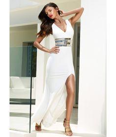 c4315da25a APHRODITE - Ivory maxi dress with front split - Campaign Forever Unique