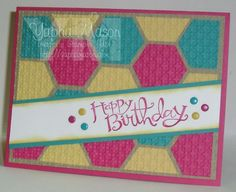 Happy 5th Anniversary to the Color Throwdown!...Yikes this card was hard to position, it is best to find the center of the crumb cake and start with your first row there and work your way out.  The end pieces from each side can be cut (very carefully) with a trimmer pressed very softly, to only cut the top hexagon to have the 1/8 inch border.  Then put through the big shot :)