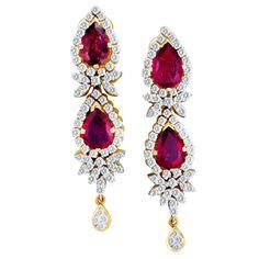 Glamorous Ruby Diamond 18k Yellow Gold Earrings World S Best
