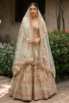 Buy Cream Raw Silk Bridal Lehenga Choli with Double Dupatta @ the best price from saree.com by asopalav Raw Silk Lehenga, Bridal Lehenga Choli, Bridal Lehenga Collection, Traditional Outfits, Floral Lace, Sequins, Sari, Special Occasion, Indian