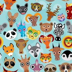 Seamless pattern cute face funny animals on blue background. Vector Royalty Free Stock Vector Art Illustration
