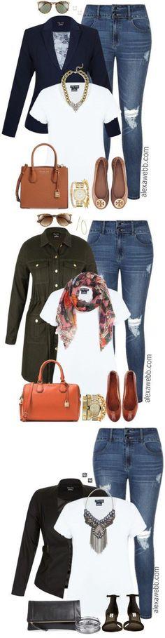Plus Size Distressed Jeans Outfit - Plus Size Fashion for Women - alexawebb.com #alexawebb