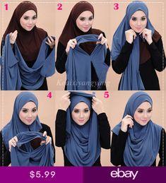 Instant Shawl Loops) Hijab Tutorials Source by Turban Hijab, Mode Turban, Hijab Outfit, Hijab Dress, Simple Hijab Tutorial, Hijab Style Tutorial, Turkish Hijab Tutorial, Turban Tutorial, Islamic Fashion