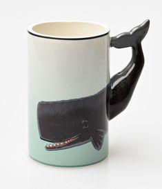 Taupe & Seafoam Painted Ceramic Whale Mug #coffeemugs