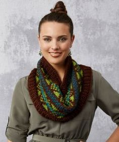 Fabulous Fair Isle Cowl Free Knitting Pattern in Red Heart Yarns Soft Winter Knitting Patterns, Knitting Machine Patterns, Knitting Kits, Easy Knitting, Knitting Projects, Cowl Patterns, Heart Patterns, Knitting Ideas, Crochet Projects