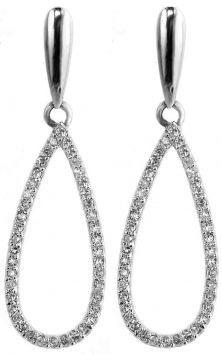 3/8 Ct Long Dangle Drop Pierced . Genuine Diamonds And Real White Gold. Jewelry $465